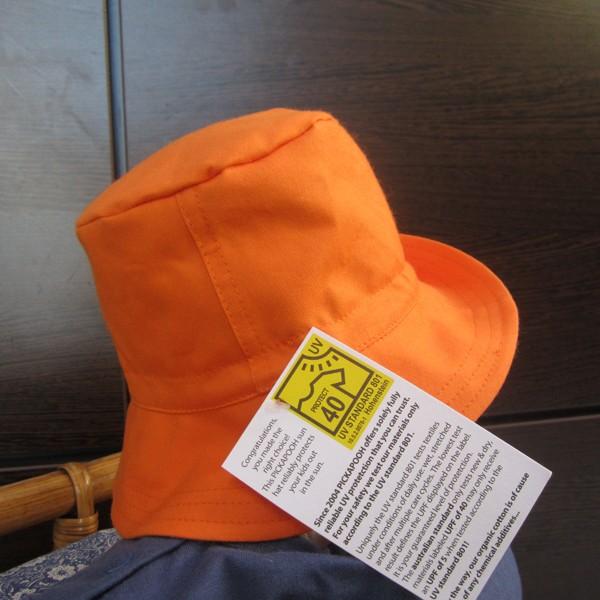 Chapeau en coton biologique anti-UV uni orange - Pickapooh