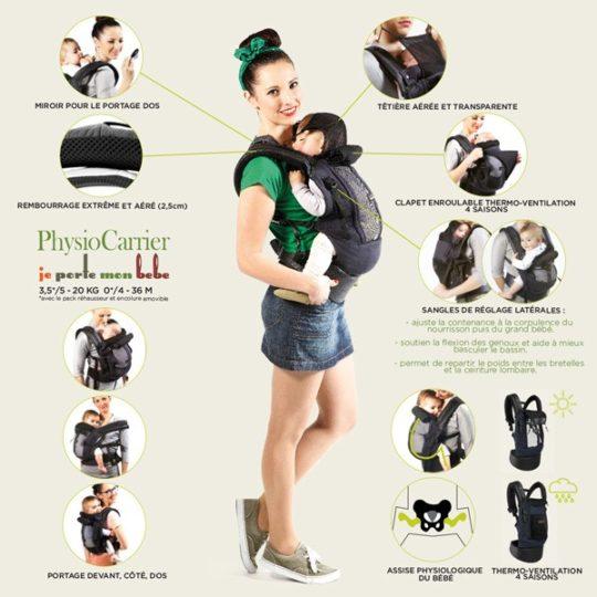 """PhysioCarrier Coton + """"Booster"""" (réhausseur & cale tête) - Je porte mon bébé"""