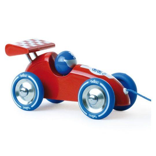 Voiture de course à traîner rouge et bleue - Vilac