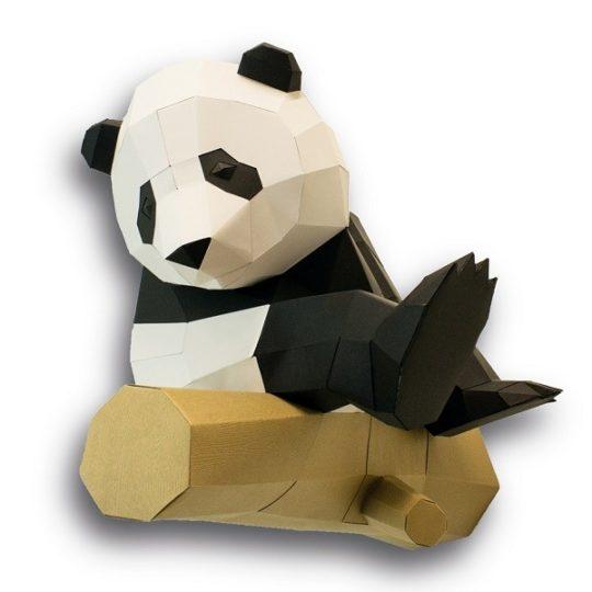 Grand Panda sur branche en papier 3 D - Agent Paper