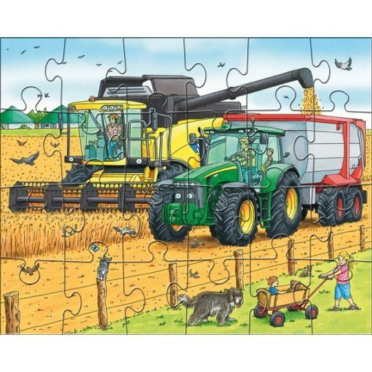 3 puzzles de 24 pièces Tracteur et Cie - Haba