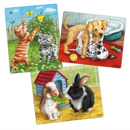 3 premiers puzzles 12, 15 et 18 pièces - Animaux de compagnie - Haba
