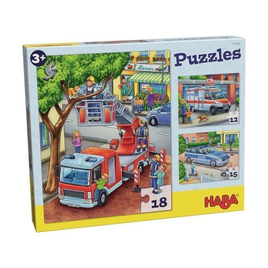 3 premiers puzzles 12, 15 et 18 pièces - Police, pompiers, Ambulance - Haba
