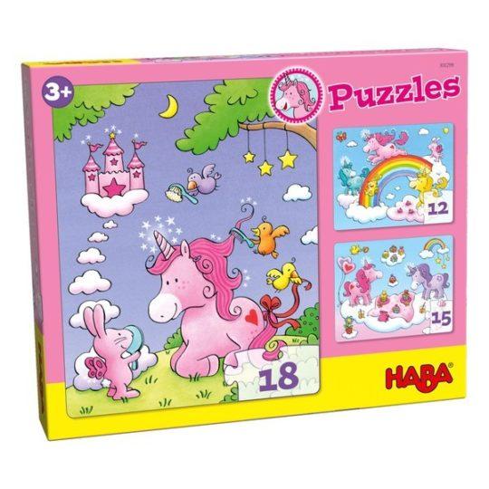 3 premiers puzzles 12, 15 et 18 pièces - Licornes dans les nuages - Haba