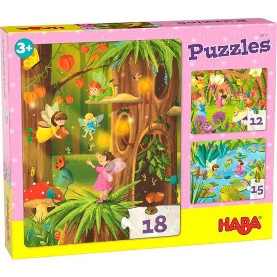 3 premiers puzzles 12, 15 et 18 pièces - Pays des fées scintillant - Haba