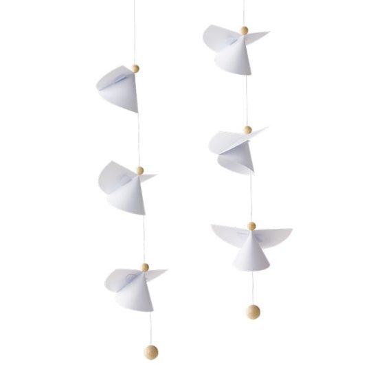 Mobile 6 Anges gardiens (en papier et en bois) - Flensted Mobiles
