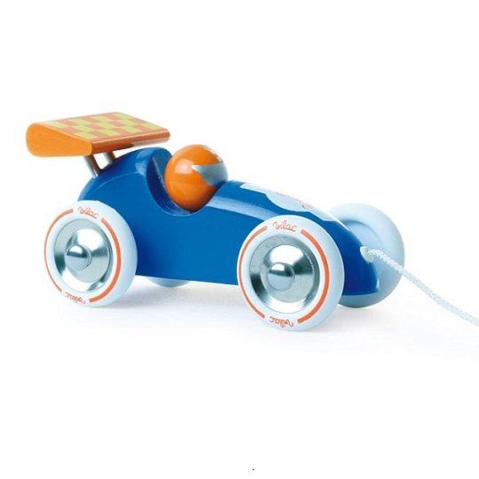 Voiture de course à traîner - bleu et orange - Vilac