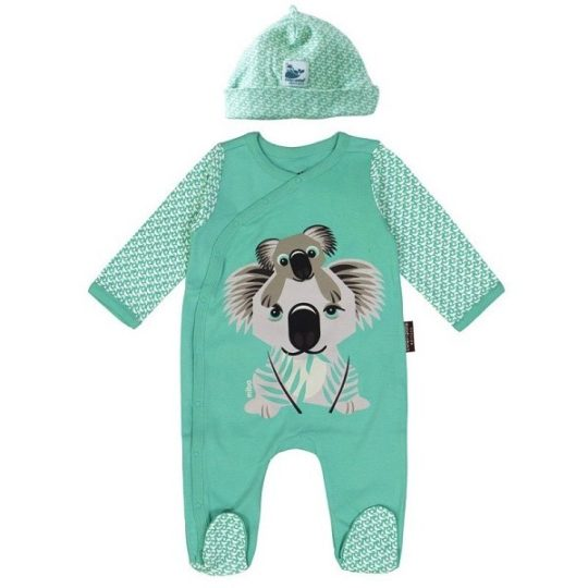 Pyjama + bonnet en coton bio Koala 3/6 mois - Coq en pâte
